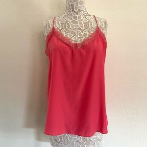 New York & Company Pink Silky Top w/Lace neckline